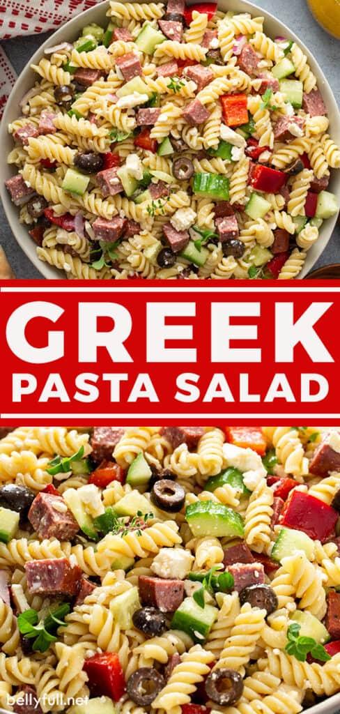 pin for Greek Pasta Salad Recipe