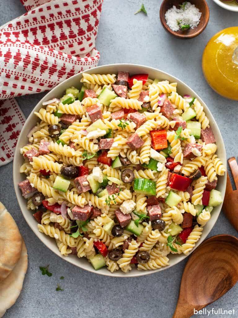 Overhead Greek Pasta Salad in white serving bowl