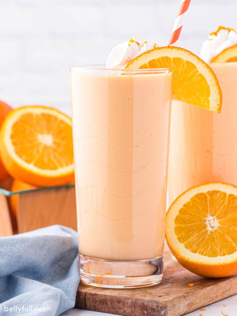 Orange Julius in tall glass with straw