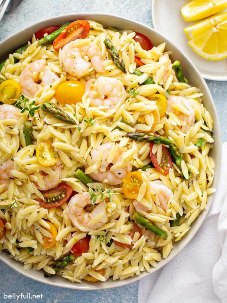 overhead close up of Orzo Salad with shrimp and asparagus
