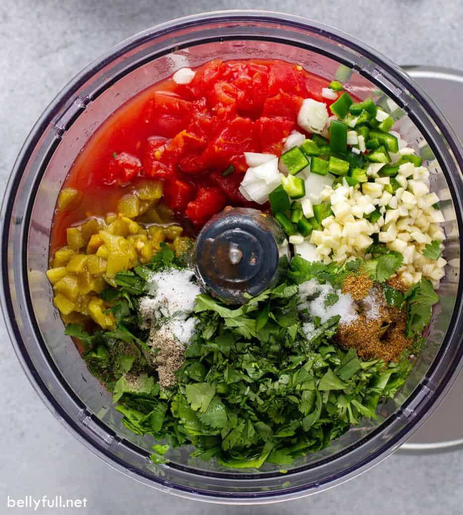 salsa ingredients in food processor bowl
