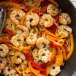 shrimp fajitas mixture in skillet