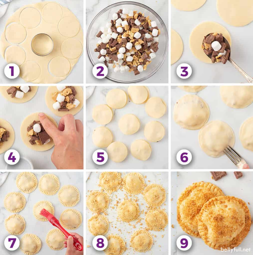 step by step picture for homemade smores hand pies
