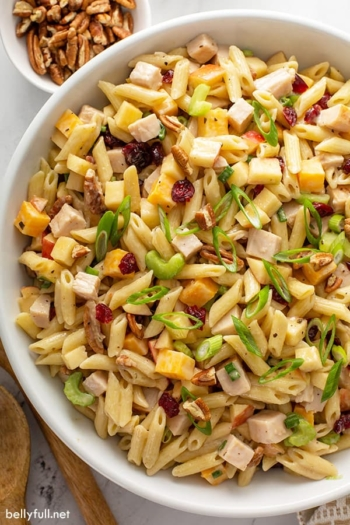 overhead close up turkey apple pasta salad in serving bowl