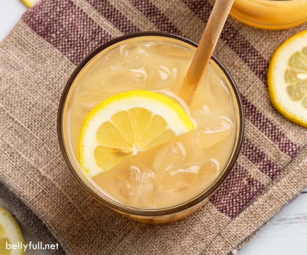 overhead drink with half moon lemon slice
