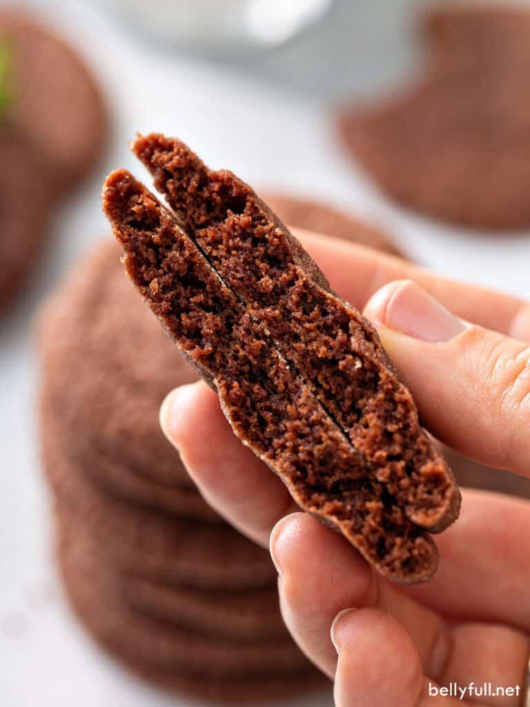 close up chocolate cookie split in half