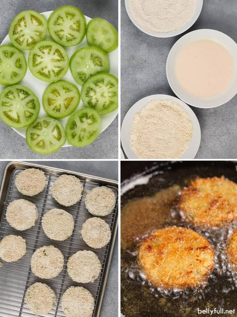 4 picture collage for how to make fried green tomatoes