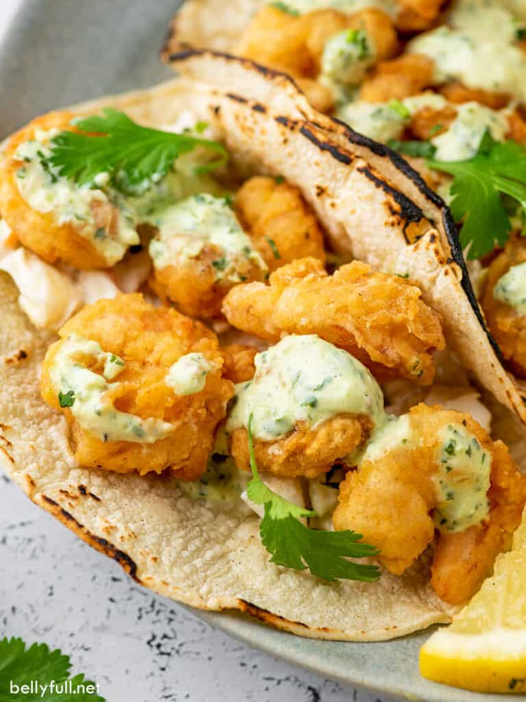 Fried shrimp tacos in corn tortillas with creamy dressing