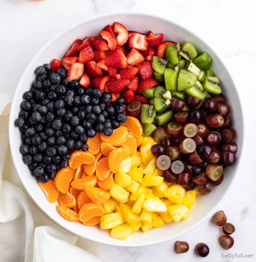 variety of fresh chopped fruits separated in white mixing bowl
