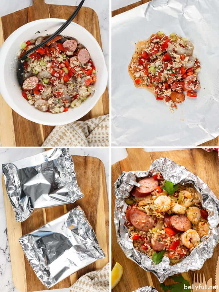 4 picture collage how to make Jambalaya Foil Packets