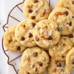 overhead cookie tray filled with kitchen sink cookies