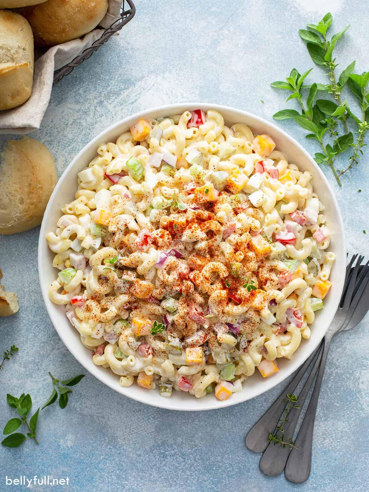 A big bowl of old fashioned macaroni salad