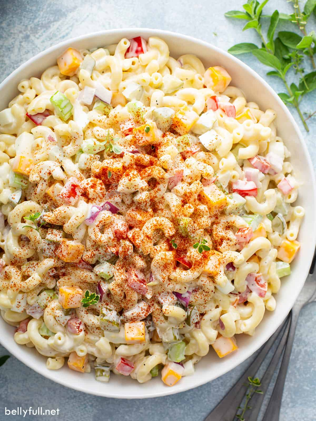 Aerial view of a big bowl of macaroni salad with egg, topped with paprika