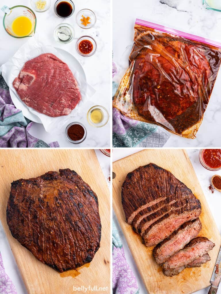 4 picture collage for grilled marinated flank steak