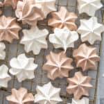 overhead vanilla and chocolate meringue cookies on wire rack