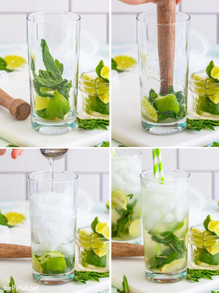 4 images showing how to make a mojito, from muddling the lime and mint to adding club soda and ice
