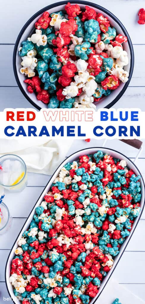 pin for red white blue caramel corn recipe