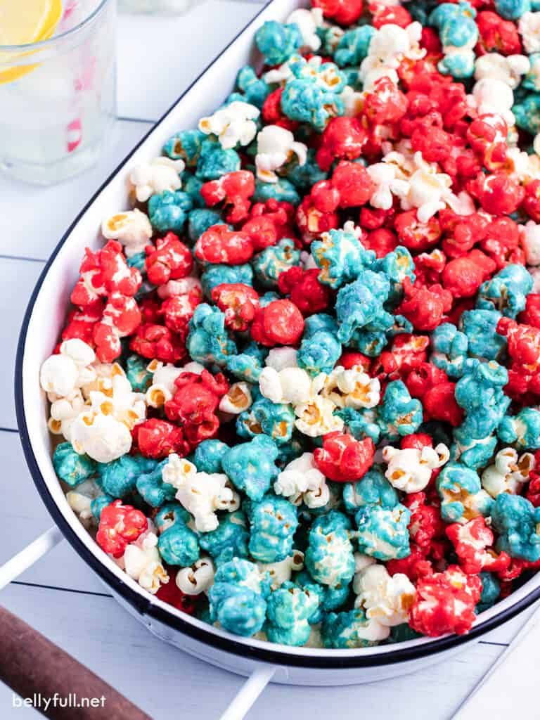 red white blue caramel corn in oval serving bucket