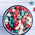 4th of July caramel popcorn in bowl