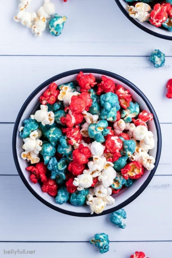 4th of July caramel popcorn in bowl