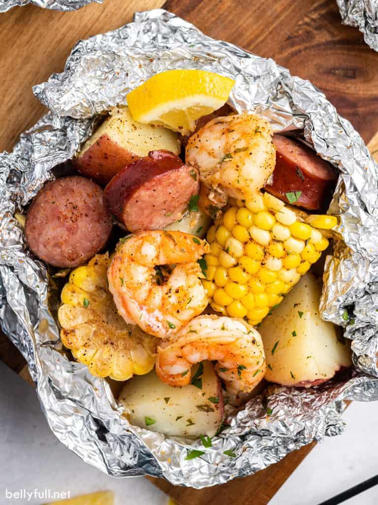 overhead close up view of shrimp boil foil packet