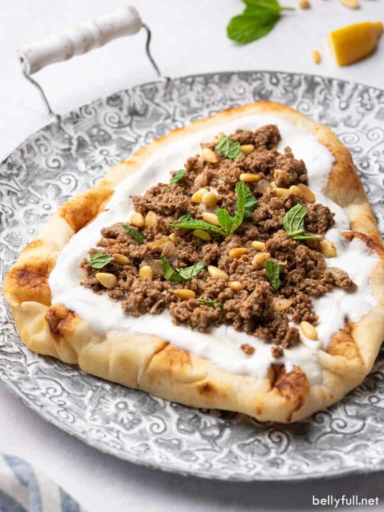 Indian keema on yogurt naan bread