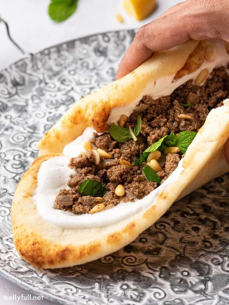 minced ground spiced turkey cradled in naan bread
