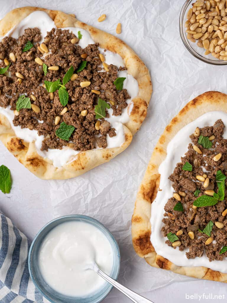 Indian minced meat on yogurt naan bread