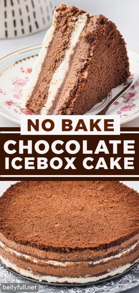 pin for chocolate icebox cake recipe