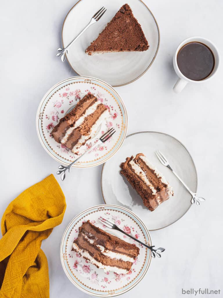 overhead picture of 4 plates with a slice of cake