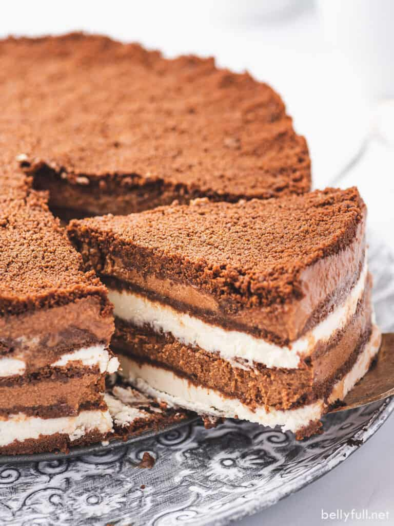 slice of chocolate icebox cake on stainless steal serving spade