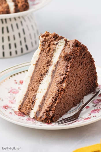 slice of chocolate icebox cake on flower patterned plate