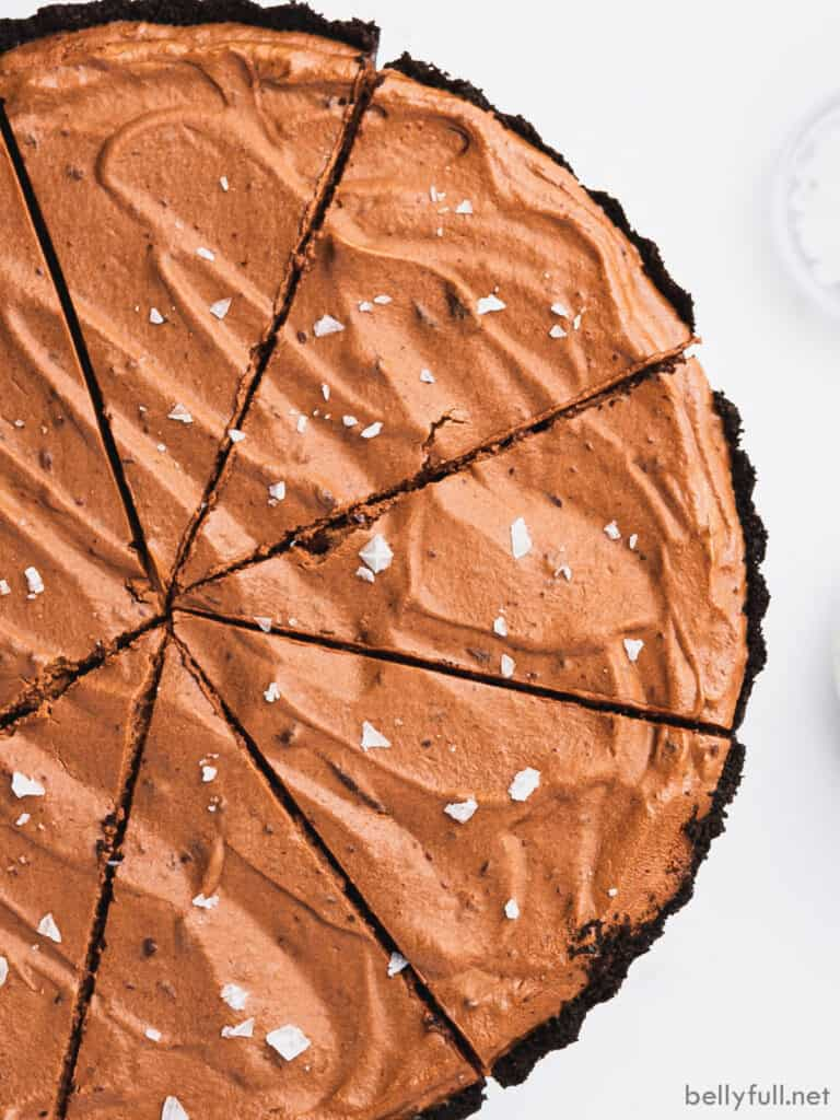 overhead view of chocolate pie cut into 8 slices