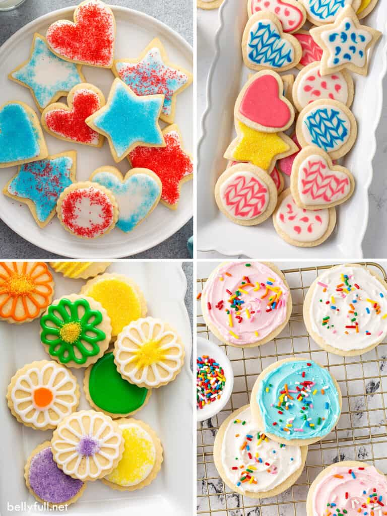 4 picture collage of decorated cookies