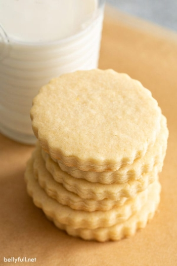 stack of plain cut out sugar cookies