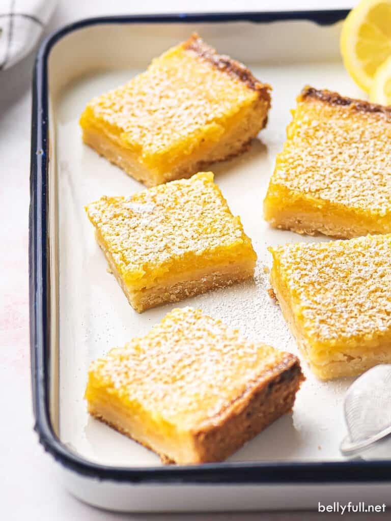 lemon bars on serving tray