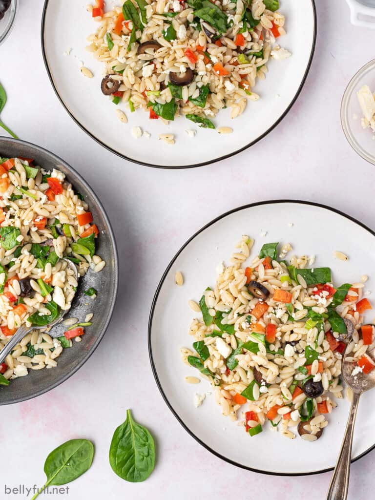 overhead of 3 plates with pasta salad