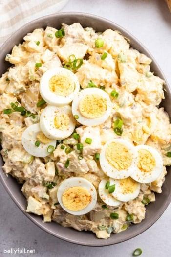 overhead potato salad with sliced hard boiled eggs
