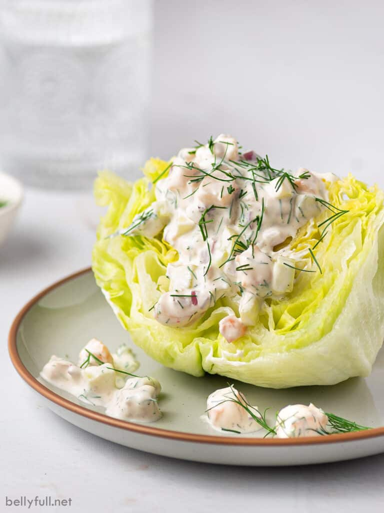 wedge salad with shrimp dressing on plate
