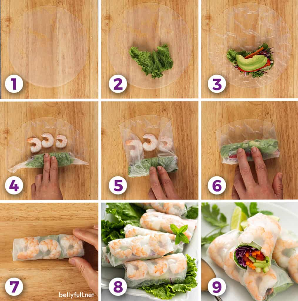 step by step pictures for how to make summer rolls