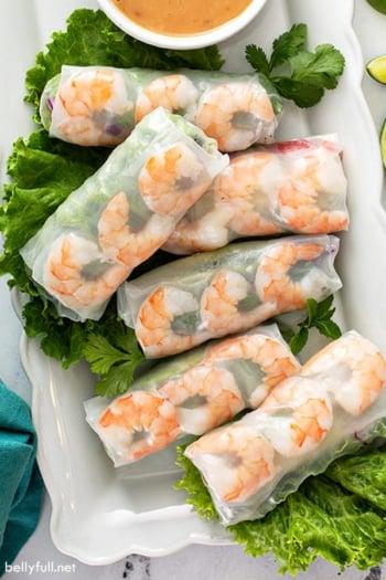 overhead view of 6 Vietnamese Shrimp Spring Rolls