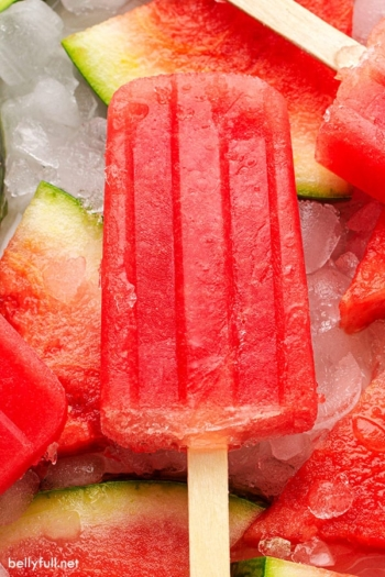 A homemade watermelon popsicle on top of frozen watermelon slices