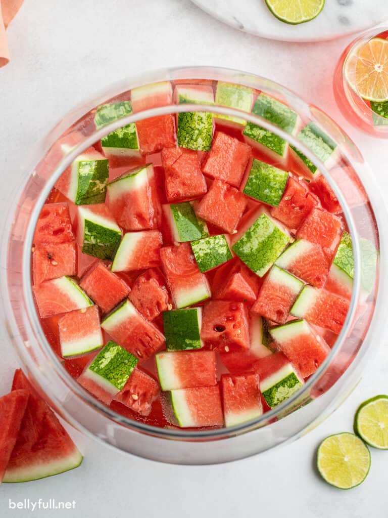 overhead punch bowl filled with wine and watermelon cubes