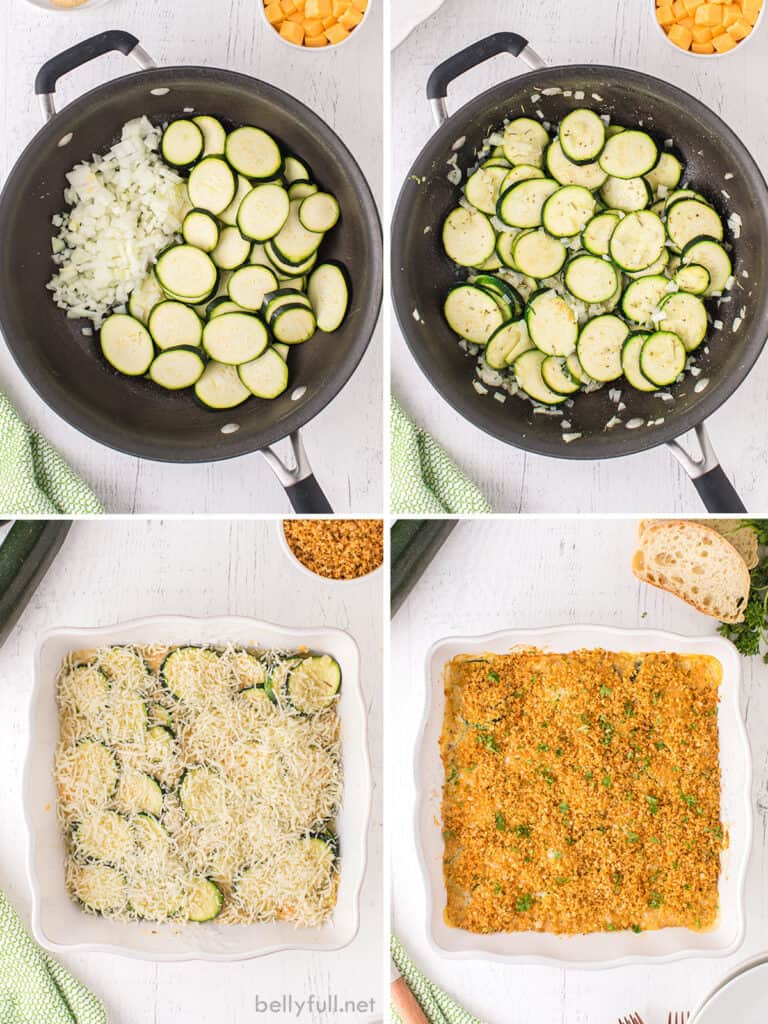 Four images showing the process of making zucchini casserole - sauteeing the zucchini, baking and topping with panko breadcrumbs