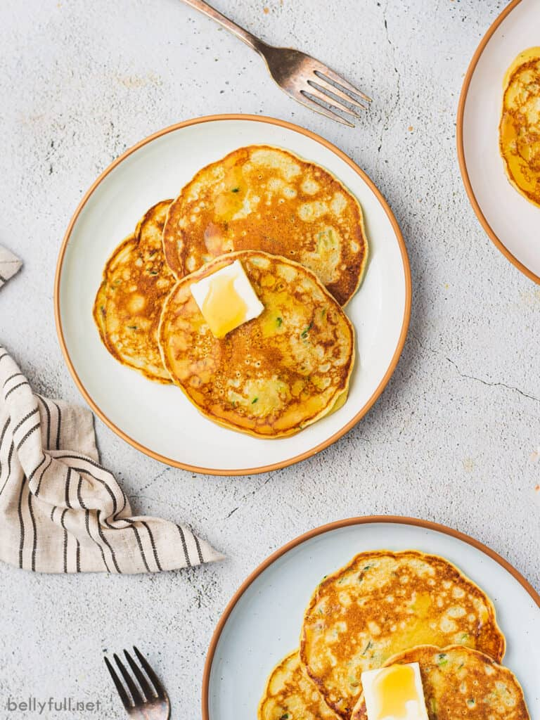overhead plates with 3 pancakes each