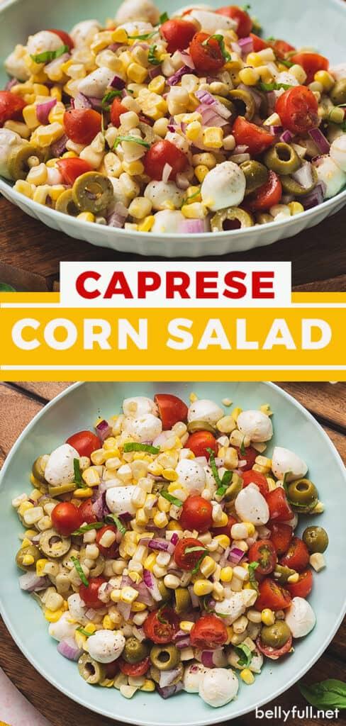 pin for caprese corn salad recipe