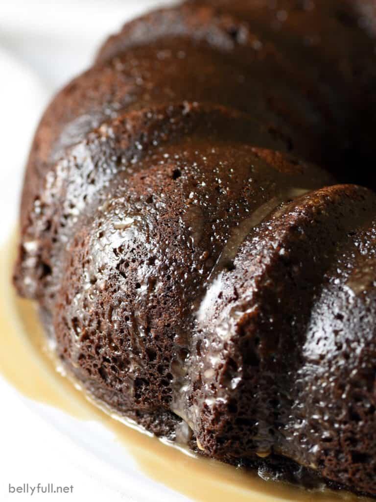 close up Kahlua Chocolate Bundt Cake