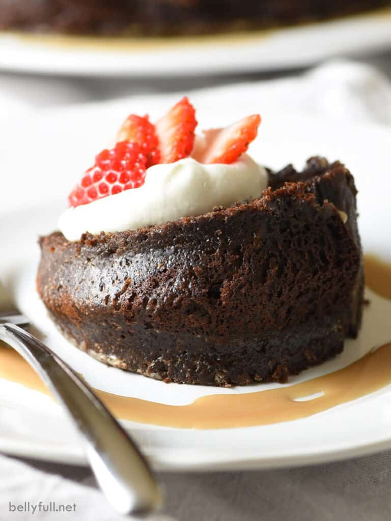 slice of chocolate cake with whipped cream and strawberries