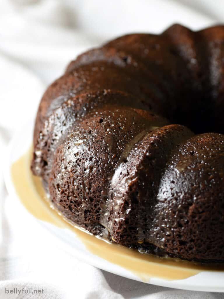Whole Kahlua Chocolate Bundt Cake on white plate