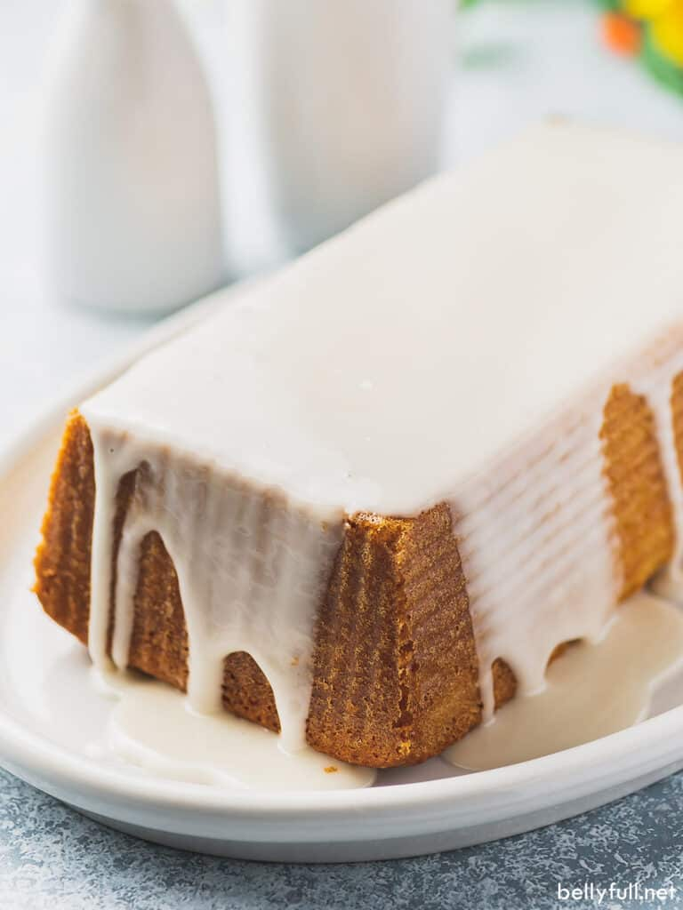 loaf pound cake coated in vanilla icing